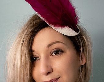 993c8704de6 Festive White FASCINATOR PILLBOX HAT with Cherry Red Feathers Tear Drop  Shape - Wedding Cocktail Races Ascots