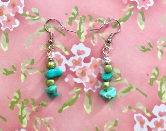 Handmade Turquoise and Green Beaded Dangle Earrings