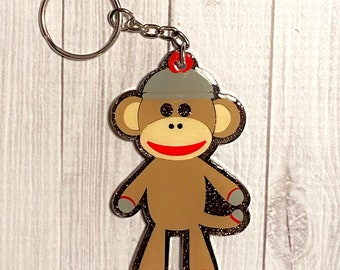 Sock Monkeys SISTERS Keychain Gift with NAMES FUN Personalized FREE