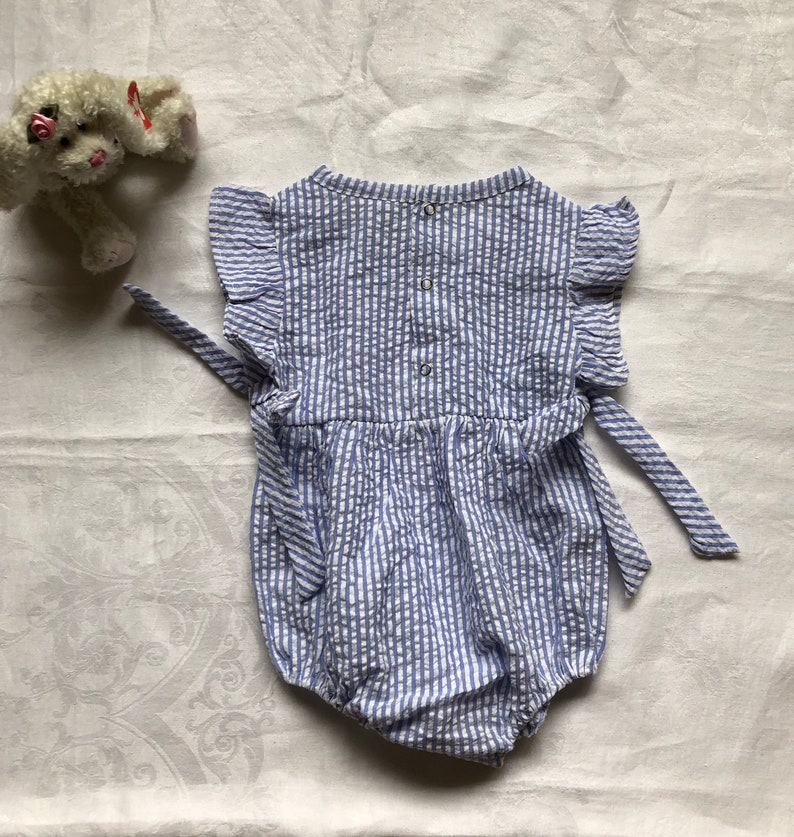 Personalized Baby girl seersucker romper