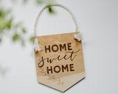 Lasercut Wood quot Home Sweet Home quot Leaf Vine Wall Hanging Banner