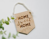 Lasercut Wood quot Home Sweet Home quot Mountain Wall Hanging Banner