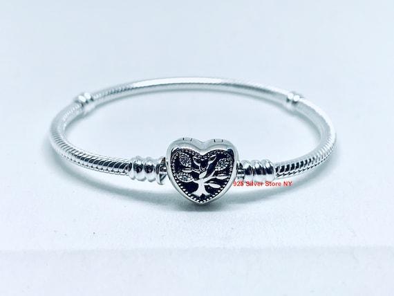 Pandora Moments Family TREE HEART CLASP Snake Chain Bracelet / | Etsy