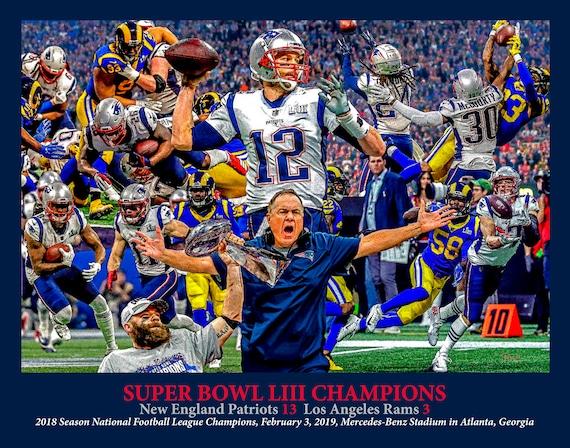 New England Patriots Super Bowl LIII Champions 2019 Tom Brady NFL Football  Art Print 11x14-48x36