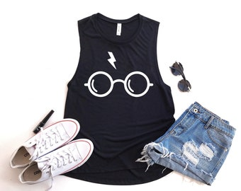 e6adf3c3 Harry Potter Muscle Tank Top for Women, Ladies Harry Potter Glasses Summer  Tank, Harry Potter Tank Top, Hogwarts Tank Top