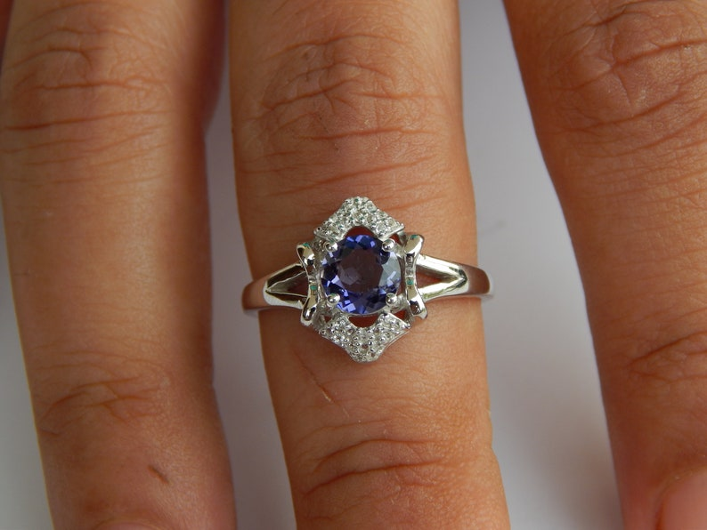 Iolite Ring Halo With Natural White Topaz 925 Sterling Silver Engagement Anniversary Ring September Birthstone Ring Mothers Day Gift For Her