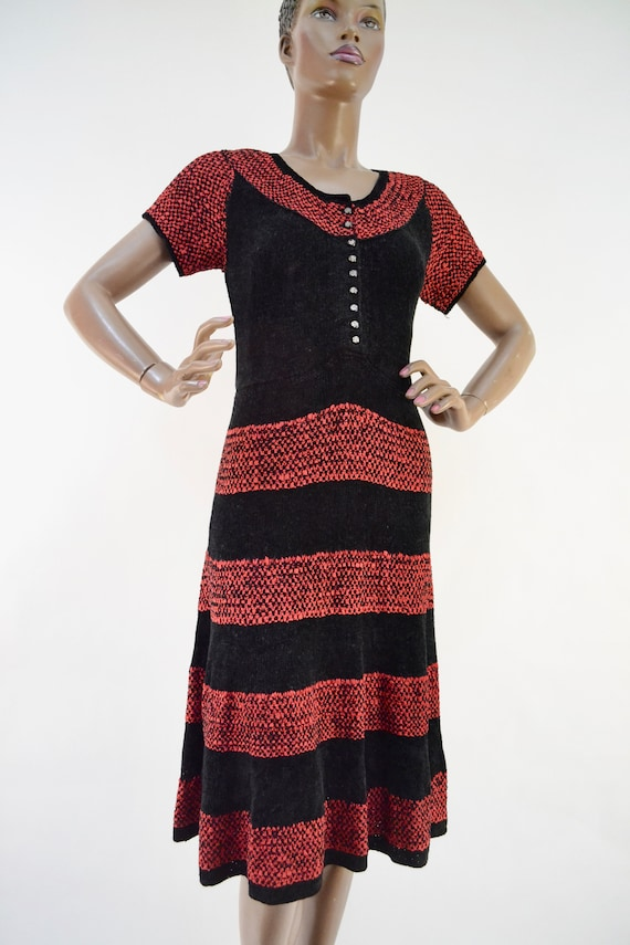 40's chenille and ribbon knit handmade dress