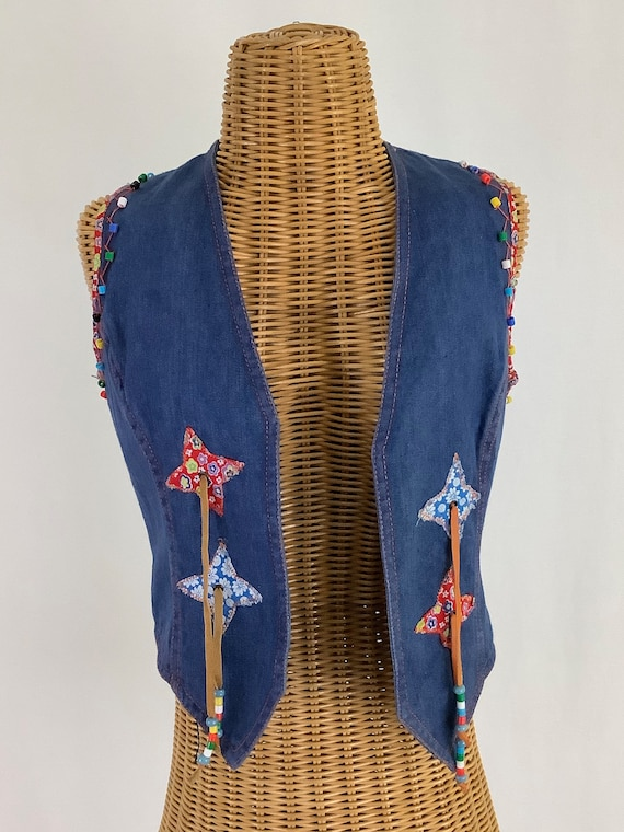 Faded Glory, beaded, patchwork vest