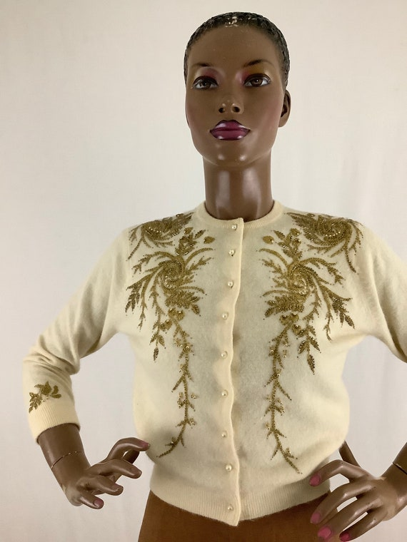 50's golden beaded cardigan by LENA