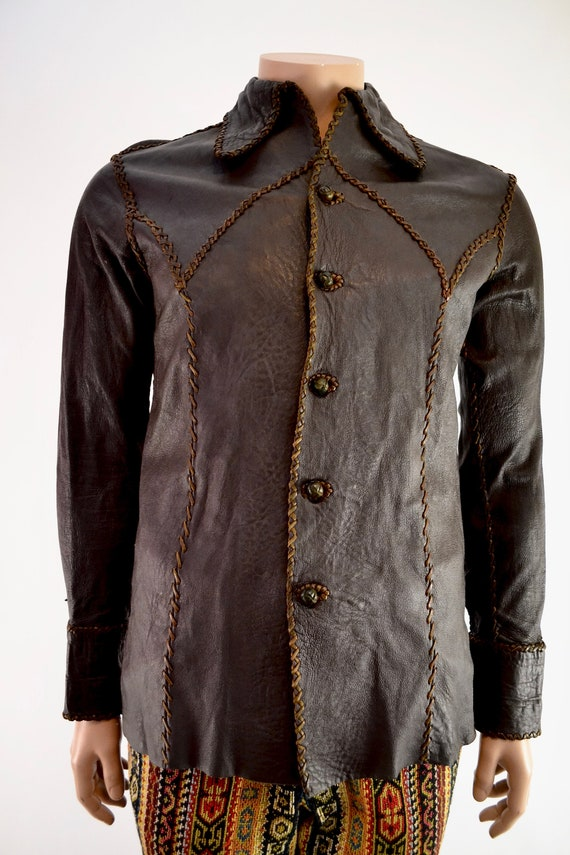 60's handmade, leather stitched leather shirt