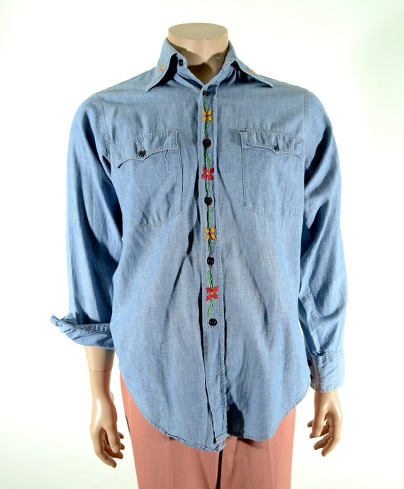 70's LEVIS chambray hand embroidered button down