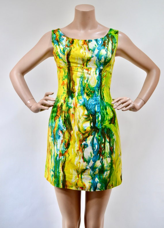 60's psychedelic marble mod mini dress