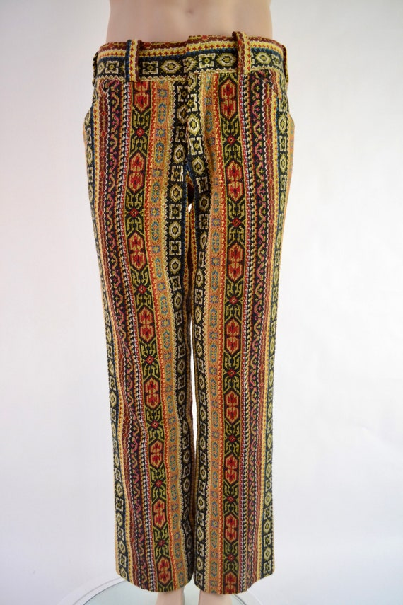 70's tapestry carpet trousers - I.Magnin