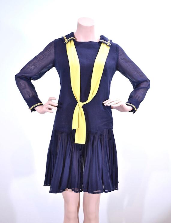 30's style cotton drop waist sailor dress