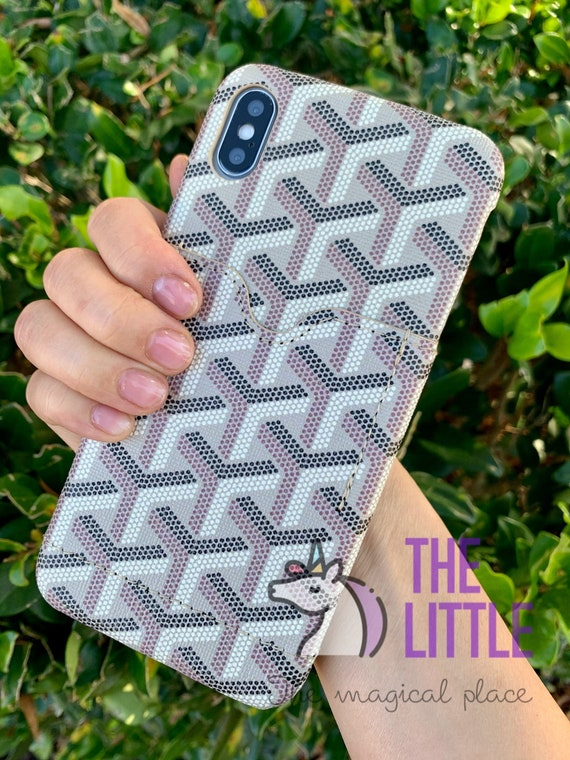 Luxury Designer Brand Inspired Apple Iphone case with Card Holder