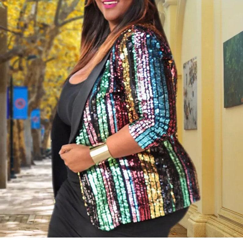 Women Plus Size Vibrant Color Long Sequin Elegant Jacket