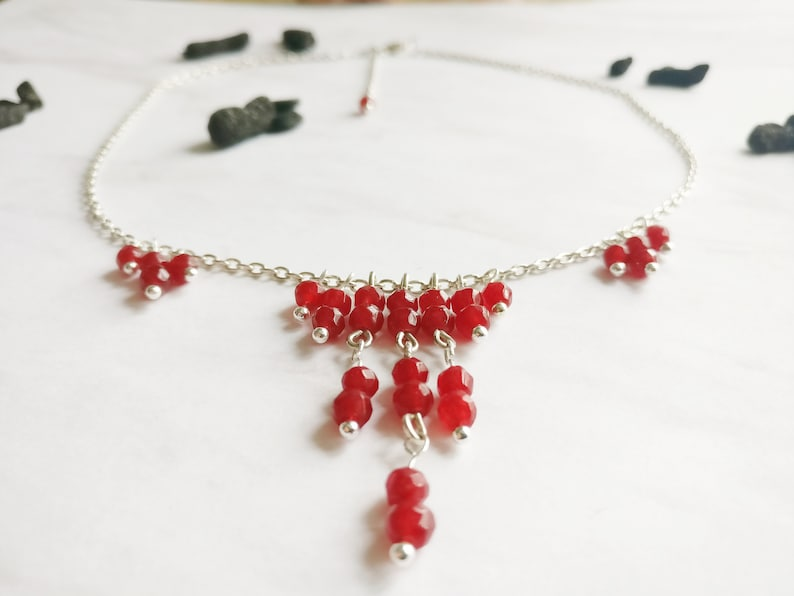 Protection red chained necklace real ruby handmade witch style chic