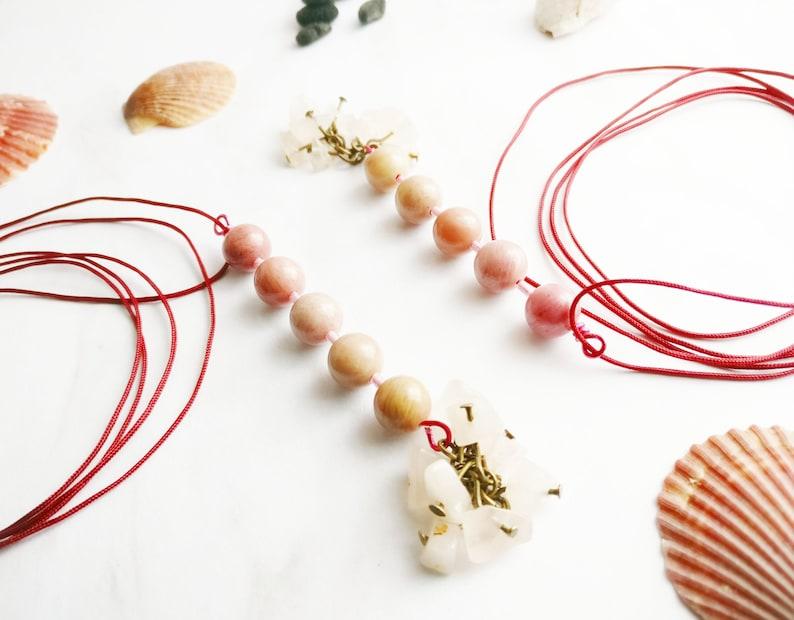 Healing rose quartz and rhodochrosite gemstones long necklace rainbow pregnancy handmade