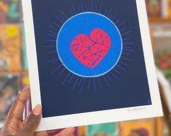 Love Magic Archival Giclee Art Print in Navy Blue