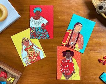 Vintage Ladies Greeting Cards- Set of 4