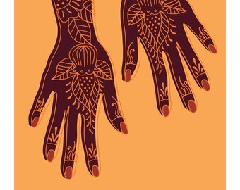 Henna Swahili African Archival Giclee Art Print in Orange and Brown