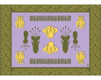 Botanical Kanga Archival Giclee art print in Purple and Green