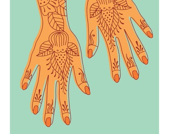Henna Swahili African Archival Giclee Art Print in Turquoise and Orange