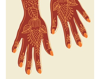 Henna Swahili African Archival Giclee Art Print in Red and Cream