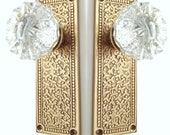 Tall Gold Cabaret French Door Backplates-Fluted Crystal Knobs by RoussoReproductions