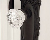 Bit of Baroque Scrolled Tall French Door Plates and Crystal Knobs by RoussoReproduction