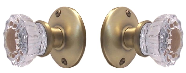 Two Fluted Crystal Glass FRENCH DOOR Dummy Knob set for ONE SIDE OF TWO DOORS
