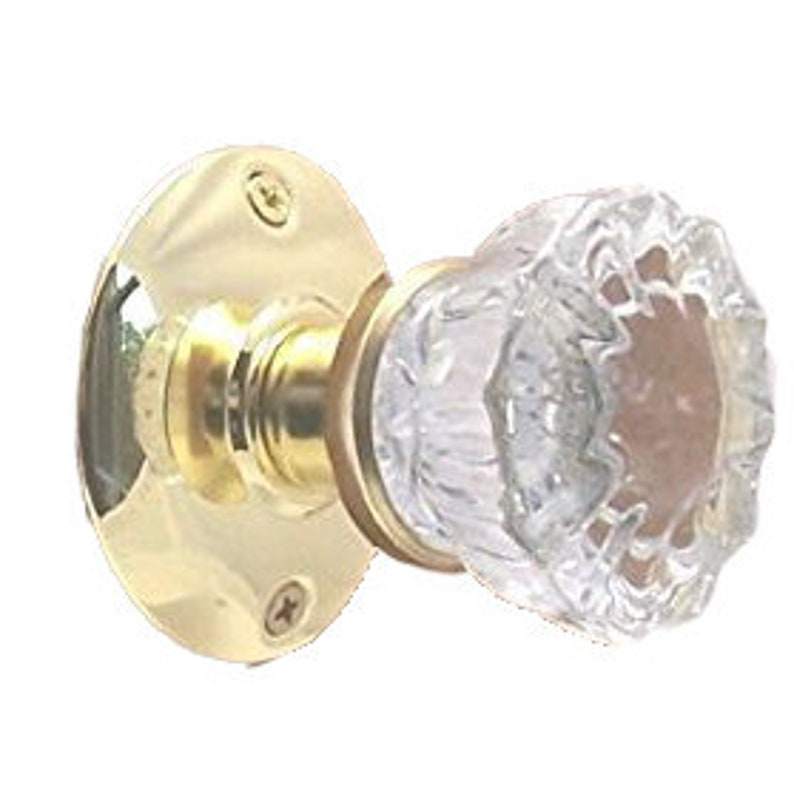 Door Knobs & Handles Finest fluted Depression Crystal Passage Door Knob Set