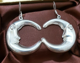 1f96818a8 925 Silver Earrings, Large Half Moon, Taxco Mexico, Hallmarked