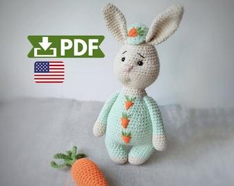Crochet pattern amigurumi rabbit, crochet bunny PDF pattern