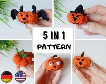 Halloween pumpkin crochet pattern 5 in 1 , digital download easy crochet pattern