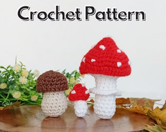 Mushrooms crochet pattern, Christmas tree crochet ornaments, amigurumi food pattern