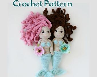 Mermaid doll crochet pattern, handmade doll amigurumi pattern