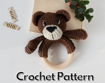 Bear crochet baby rattle pattern, amigurumi teddy bear pattern