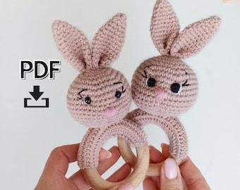 Bunny baby rattle crochet pattern, amigurumi bunny pattern, crochet baby Christmas gift