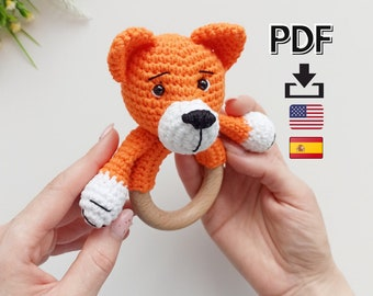 Crochet fox pattern, baby rattle amigurumi pattern, easy crochet pdf pattern