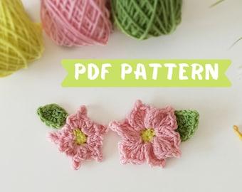 Crochet flower pattern, crochet applique flowers with leaves