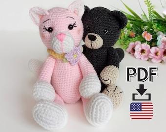 Crochet cat pattern, amigurumi cat pdf pattern