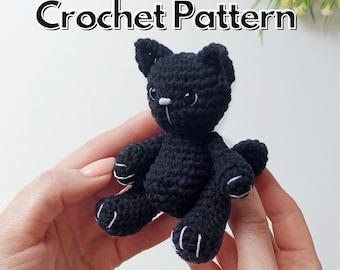 Crochet cat pattern, black cat amigurumi keychain easy crochet PDF pattern