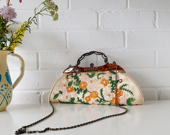 1960s Floral  Hand Beaded Golded Silk Vintage 60s Hand Bag Purse
