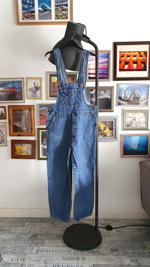 Stunning denim 70s overalls jumpsuit - dark denim