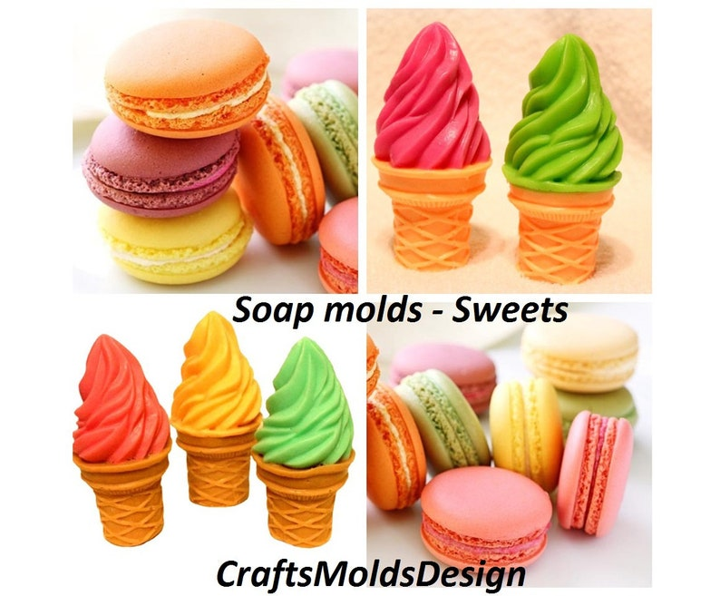 Ice cream mold crafts molds Macaroon 3d Silicone mold Soap moulds sweets moulds candle making supplies soap mold Sweets