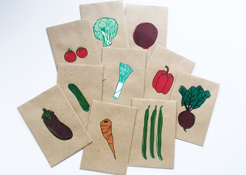 10 vegetable-themed hand-screen printed seed packets  Wedding image 0