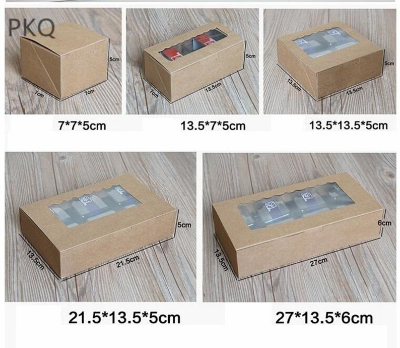 30pcs Kraft Paper Window Cake Box Cupcake Packaging Gift Box White Dots Candy Biscuit Soap Cookie Display Packaging Box Window