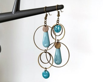 Bronze candlestick earrings chain round black sequin drops turquoise shuttle triangle sequins