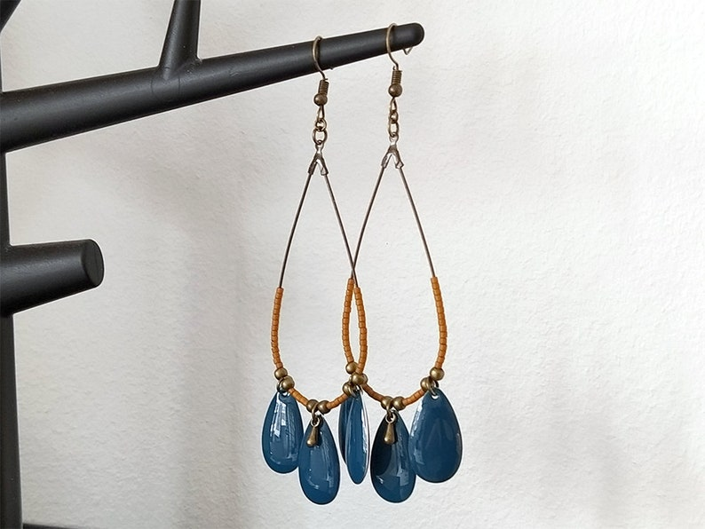 Earrings bronze creoles drops 6 miyuki pearls brown speculoos 3 drops turquoise rushes